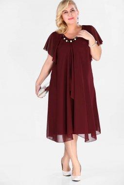 Společenské šaty pro plnoštíhlé Shauna vínově červené