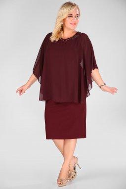 Společenské šaty pro plnoštíhlé Taylor vínově červené