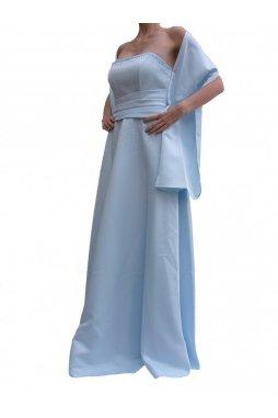 LDynasty luxusní společenské dlouhé šaty Minerva světle modré s šálou