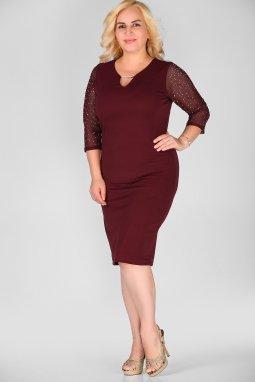 Společenské šaty pro plnoštíhlé Tonia vínově červené