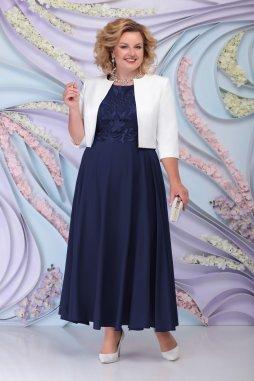 Luxusní společenské šaty pro plnoštíhlé Eugenia II tmavě modré dlouhé s bílým kabátkem