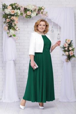 Luxusní společenské šaty pro plnoštíhlé Eugenia II smaragdově zelené dlouhé s bílým kabátkem