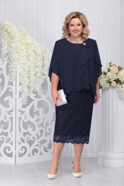 Luxusní společenské šaty pro plnoštíhlé Cornelia tmavě modré