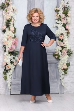 Luxusní společenské šaty pro plnoštíhlé Clementine tmavě modré dlouhé