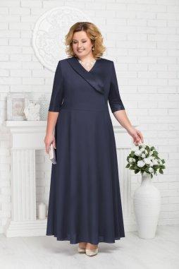 Luxusní společenské šaty pro plnoštíhlé Lorenza tmavě modré dlouhé