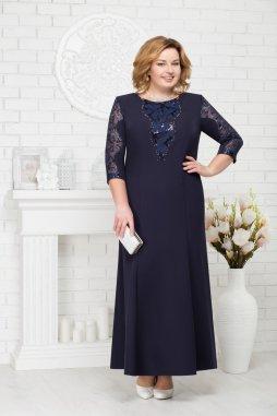 Luxusní společenské šaty pro plnoštíhlé Mirabella tmavě modré dlouhé