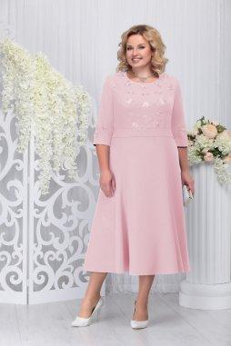 Luxusní společenské šaty pro plnoštíhlé Celestine pudrové