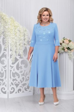 Luxusní společenské šaty pro plnoštíhlé Celestine světle modré