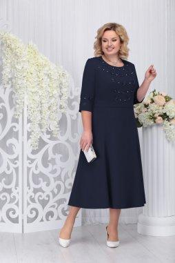 Luxusní společenské šaty pro plnoštíhlé Celestine tmavě modré