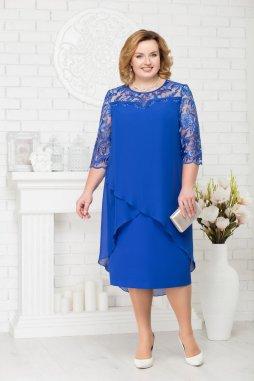 Luxusní společenské šaty pro plnoštíhlé Riccarda modré