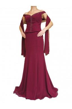 Dynasty luxusní společenské dlouhé šaty Marianne vínově červené s šálou 42fe669a98