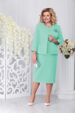 Luxusní společenské šaty pro plnoštíhlé Evangeline II mentolové s kabátkem