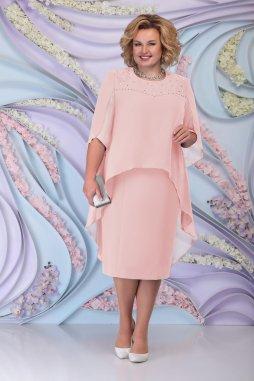Luxusní společenské šaty pro plnoštíhlé Antonella pudrové