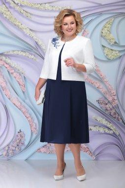 Luxusní společenské šaty pro plnoštíhlé Simone tmavě modré s bílým kabátkem
