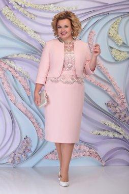 Luxusní společenské šaty pro plnoštíhlé Ornella pudrové s kabátkem