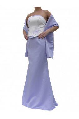 Dynasty luxusní společenské dlouhé šaty Lucille bílo-fialové s šálou