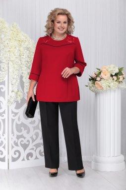Kalhotový kostýmek pro plnoštíhlé Pasqualina černo-červený