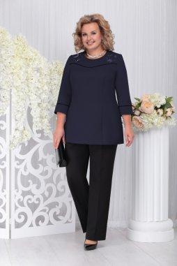 Kalhotový kostýmek pro plnoštíhlé Pasqualina černo-tmavě modrý