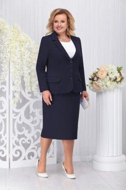 Sukňový kostýmek pro plnoštíhlé Donna tmavě modrý s bílou halenkou