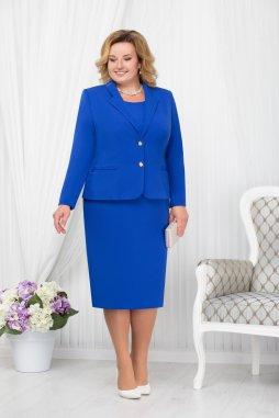 Luxusní společenské šaty pro plnoštíhlé Agnesse modré s kabátkem