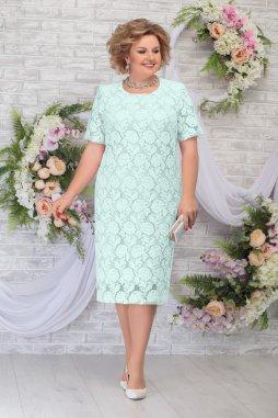 Luxusní společenské šaty pro plnoštíhlé Samuella mentolové