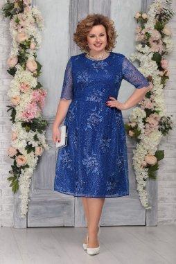 Luxusní společenské šaty pro plnoštíhlé Galilea modré