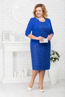 Luxusní společenské šaty pro plnoštíhlé Theodora modré