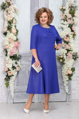 Luxusní společenské šaty pro plnoštíhlé Ravenna modré