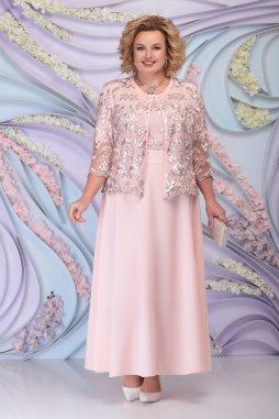 Luxusní společenské šaty pro plnoštíhlé Sorella pudrové dlouhé s krajkovým svrškem