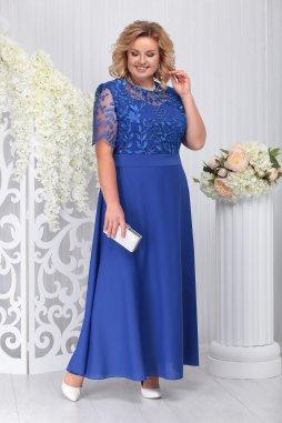 Luxusní společenské šaty pro plnoštíhlé Venette modré dlouhé