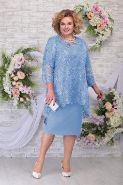 Luxusní společenské šaty pro plnoštíhlé Philippa světle modré s krajkovým svrškem