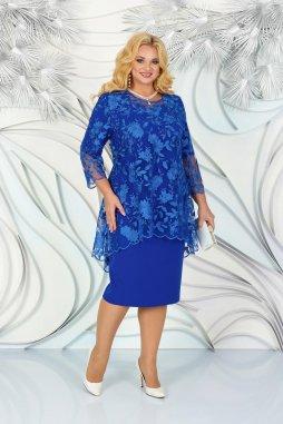 Luxusní společenské šaty pro plnoštíhlé Philippa modré II s krajkovým svrškem