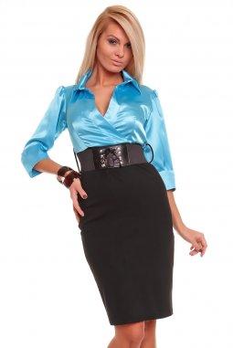 Business šaty Rebecca azurovo-černé