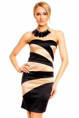 Společenské šaty Bethamy béžovo-černé