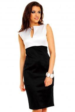 Společenské šaty Darlene bílo-černé