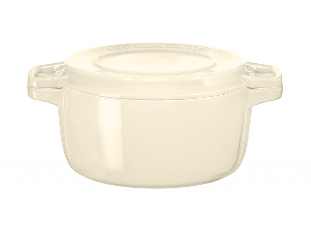 Hrnec s poklicí litinový 3,8 l 24 cm mandlová, KitchenAid