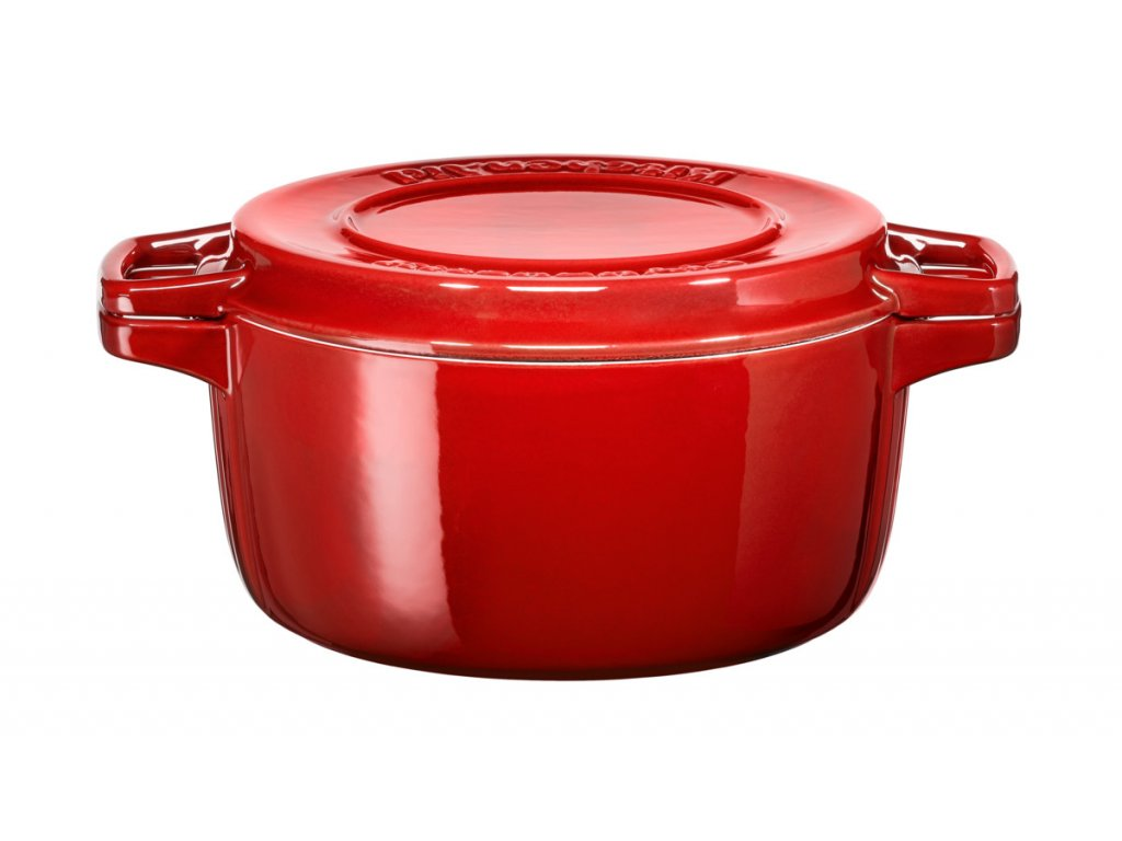 Hrnec s poklicí litinový 5,7 l 28 cm červená, KitchenAid