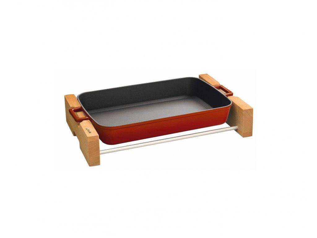 Pekáč obdélníkový litinový 22x30 cm červený s dřevěným podstavcem, LAVA