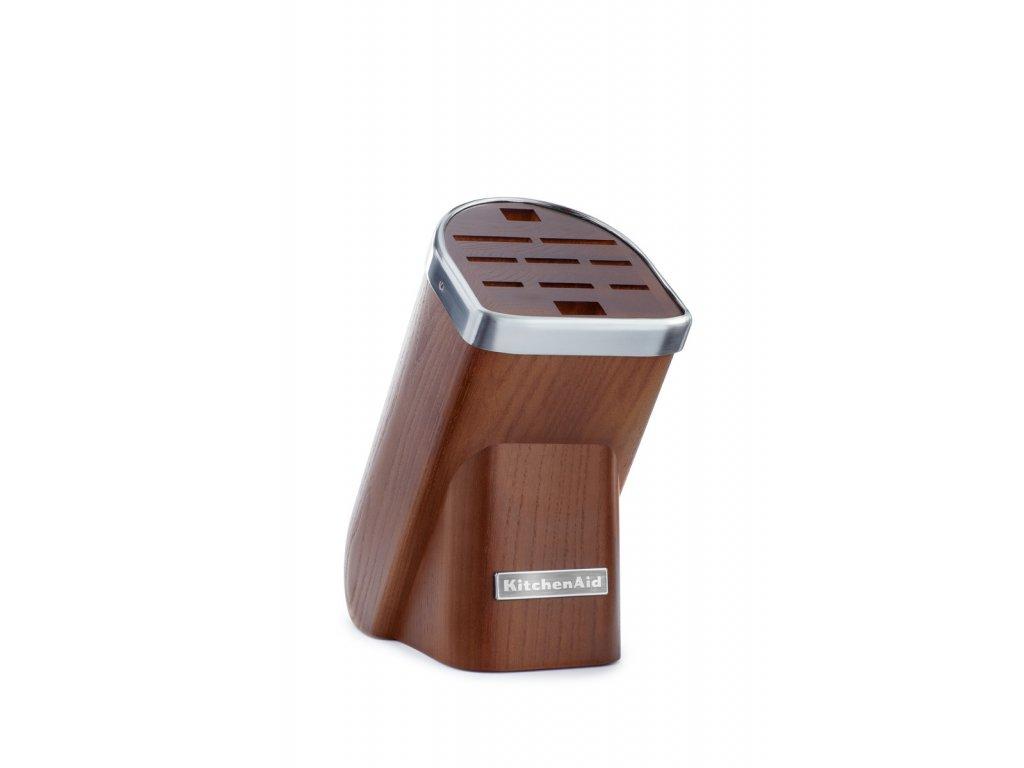 Blok na nože, až 10 nožů, přírodní dřevo - tmavý jasan, KitchenAid  + dárek (nůž 9cm)