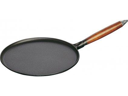 Pánev na palačinky litinová s dřevěnou rukojetí 28cm indukční černá, STAUB