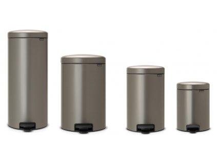 Odpadkový koš NEWICON, tichý pedálový, platinová, BRABANTIA