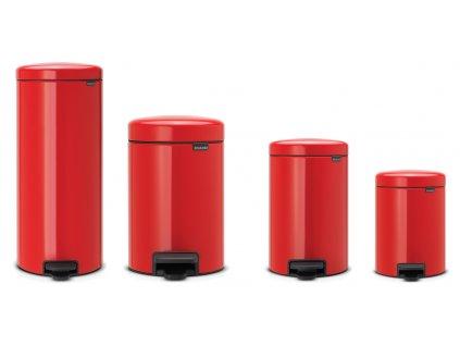 Odpadkový koš NEWICON, tichý pedálový, zářivě červená, BRABANTIA