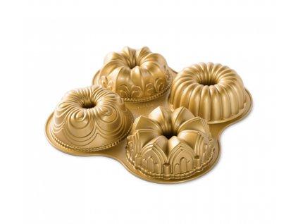 Forma na 4 Mini bábovky 2,3 l, zlatá, NORDIC WARE