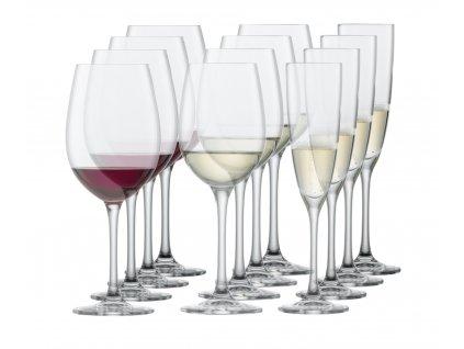 Sklenice na víno, sada na bílé, červené a sekt 12 kusů čistý křišťál, SCHOTT ZWIESEL