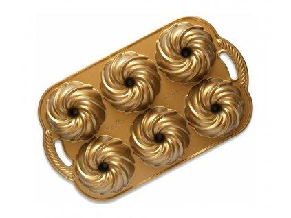 Forma na 6 báboviček Swirl vodní vír zlatá 0,71 l, NORDIC WARE