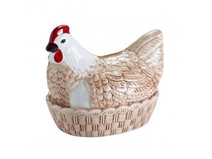 Mísa na vejce s víkem ve tvaru slepice hnědá, MASON CASH