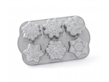 Forma na 6 báboviček Sněhové Vločky stříbrná 0,7 l, NORDIC WARE