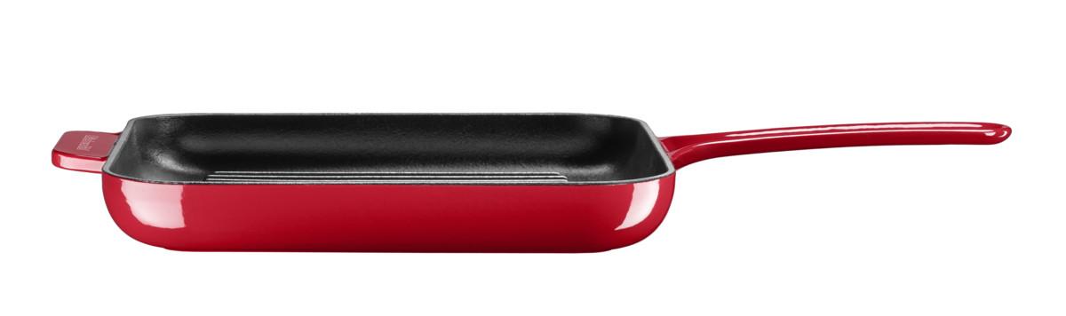 Gril & panini pánev s poklicí litinová červená 24 cm, KitchenAid