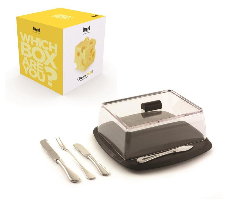 Sada na sýry, 3 nože, vidlička, podnos a poklop, MEPRA ITALY