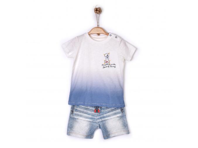 """Souprava 2dílná chlapecká  - tričko """"1"""" a kraťásky 3D_S11180 (Velikost 12 - 18 MĚSÍCŮ)"""